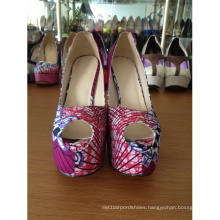 African Printed Fabric Peep Toe Sandal Shoes (HCY02-586)