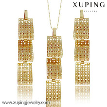 63707 Earrings Pendant Set Women Gift Trendy Gold Plated Dubai 2-Piece Jewelry Sets