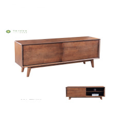 Solid Wood Dark Walnut TV Stand Sliding Doors