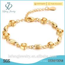Fábrica nova chegada banhado a ouro Frosted maçã Bead Bracelet para as mulheres