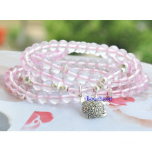 Natural Rose Quartz Beads with Silver Charm Bracelet (BRG0008)