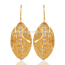 18K Yellow Gold Plated Solid Silver Leaf Earring