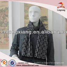 Bufanda de seda fresca de raya negra y blanca