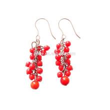 Boucle d'oreille bohème perlé rouge corail Fashion