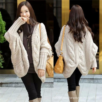 Fashion Style Plus Size Bat Sleeve Knitted Wool Cardigan (66180)