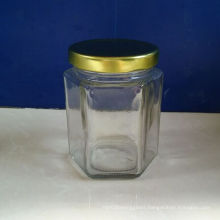 4oz Hexagonal Glass Jam Jars with Metal Lids on Sale