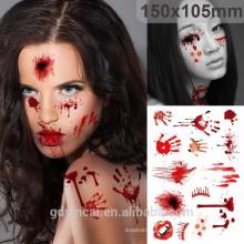 Etiqueta do tatuagem do projeto de Costom da série do Dia das Bruxas, tatuagem impermeável