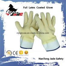 Forro de algodón con guantes de trabajo de manguito de seguridad terminado con láminas de látex totalmente amarillas