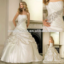 Taffeta Pleating Swathes Around on the Diagonal and Exquisite Diamant and Pearl Beading Wedding Dress