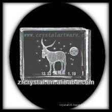 K9 3D Laser Engraved Capricorn Inside Crystal Block