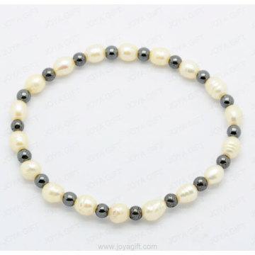 diamond ring hematite strech bracelet