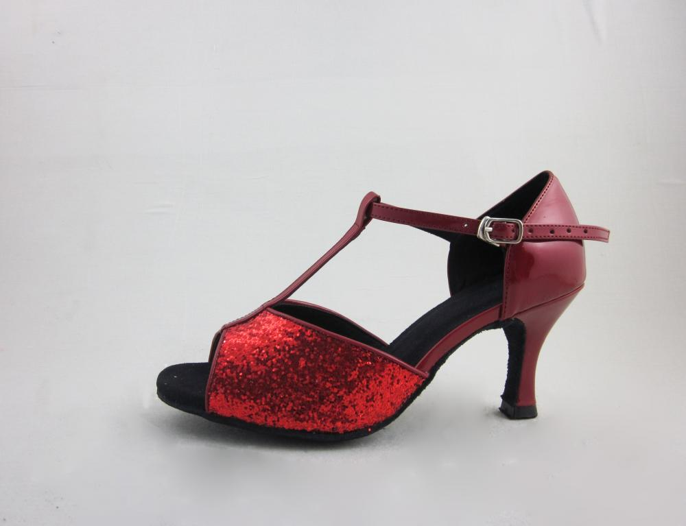 Red Leather Salsa Dance Shoes