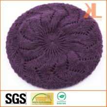 100% Acrylic Purple Knitted Beret
