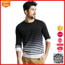 Nueva moda de manga larga de pullover blanco y negro a rayas hombres suéter de punto