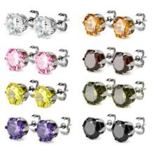 Charisma 316L Titanium Steel Cubic Zirconia Pavé Cristal Rond Boucles d'oreilles en forme de carré pour filles Femmes