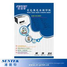 Papel de transferencia de calcomanía de agua con láser a base de agua en transparente