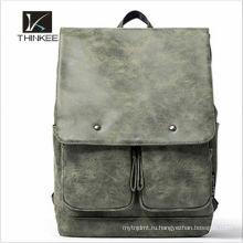 Мужская мода дешевые рекламные досуг натуральная кожа рюкзак 2016