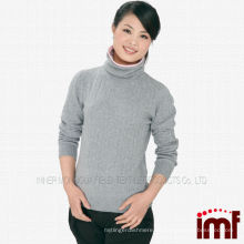 Suéter de cachemira de punto gris de las señoras