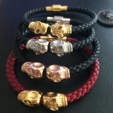 Der Schädel Herren Armband stieg gold Edelstahl Totenkopf Leder-Armband