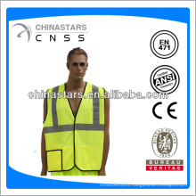 fluorescent yellow 100% polyester reflective traffic wear with pockets