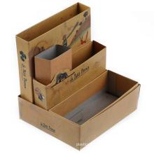 Organización de escritorio de cartón marrón impreso