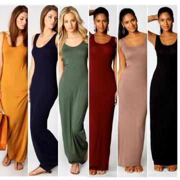 Silk Stretch Casual Summer Long Sleeveless Lady Dress