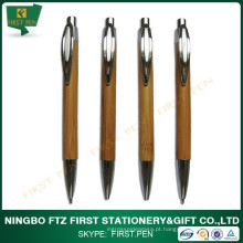 Caneta e lápis de bambu personalizados