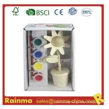 Flower Wooden Craft Water Color Paint for Kids Gift
