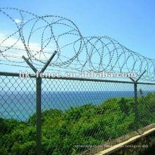 Galvanized chain link fence with razor wire