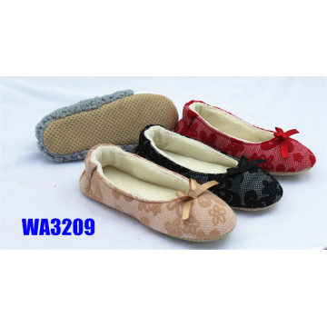 Women's Bowknot Lace Dance Shoes Dotted Suede Sole