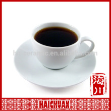 HCC ceramic tea cup and saucer holder, ceramic cup with wooden saucer
