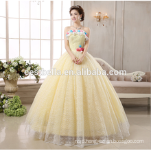 Sleeveless corset Yellow taffeta wedding dress puffy prom dress