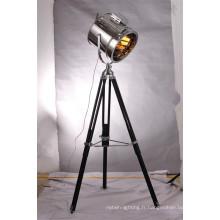 Lampe de sol réglable en trépied métallique moderne en métal