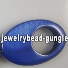 natural blue oval shape shell beads