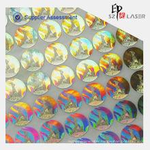 Hologram custom self adhesive fabric sticker label