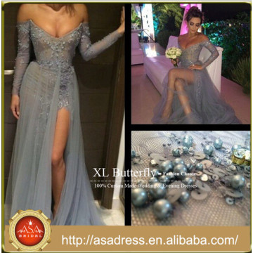 EDB-05 Glamorously Sexy See Through Sheer Fabric Party Gown 2015 Platinum Off Shoulder Beaded Long Sleeve Evening Dress