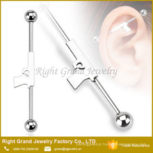 316L Surgical steel Hand Gun shape Industrial Ear Barbell