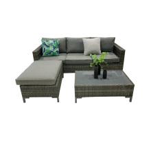 Modern Home Furniture Luxury Quality Rattan Wicker Garden Sofa Set Living Room Sofa Steel Wicker Sofa Set of 3 European Style