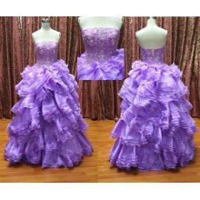 Fashion Ball Gown Ruffles And Embroidery Sleeveless Masquerade Prom Dresses