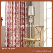 Tissu imprimé en couleur rouge de conception simple pour tissu rideau / rideau