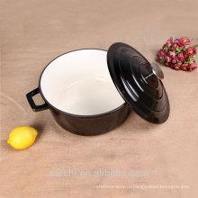 Горячая продажа Глянцевая черная эмаль с покрытием из чугуна Кухонный суп с крышкой