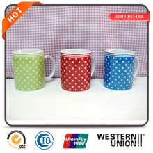 DOT Decal Porcelain Mug in Different Colors
