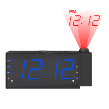Hot Selling Big Size LCD Screen Display Projection USB Charger  FM Alarm Clock
