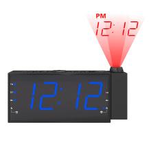 Vente chaude grande taille LCD affichage de projection projection USB chargeur FM réveil