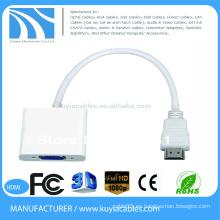 Mini adaptador de convertidor hdmi a vga HDMI de 15 cm a vga hembra para Tablet PC a Proyector