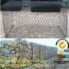 Fournisseur de l'Asie cages tissées de fil d'acier pour la pierre hexagonale de compensation des paniers de gabion de liaison PVC enduit des cages en pierre de treillis métallique