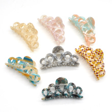 Custom hollow craved design large cellulose acetate acrylic hair claw clips