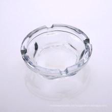 Transaprent Clear Cenicero de vidrio redondo personalizado