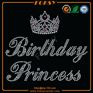 Princess Birthday Crown diseños de la camisa del rhinestone