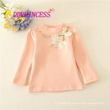 Fornecimento de fábrica em estoque cores sólidas undershirts mangas compridas menina undershirt floral appliqued Algodão Meninas Roupas eco-friendly